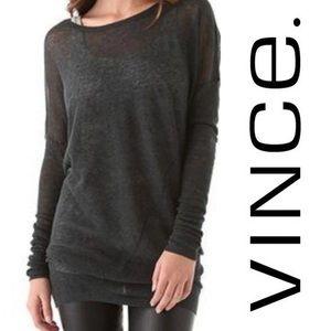 Vince Twist Seam Dolman Sleeve Sheer Silk/Wool/Alpaca Blend Sweater Sz L